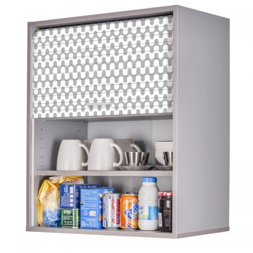 meuble cuisine alu 60x72 face imprimee coloris rideau vagues grises 810