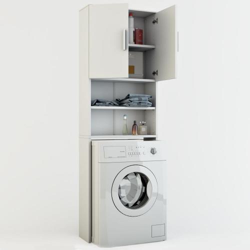 meuble de buanderie pour machine a laver jeany l 64 x h 190 cm blanc