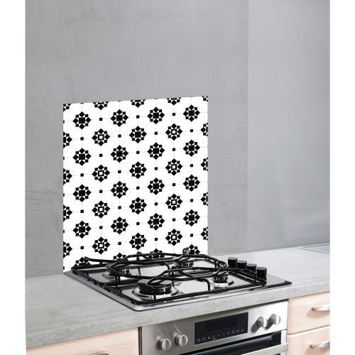 fond hotte design arabesque l 60 x l 70 cm blanc et noir