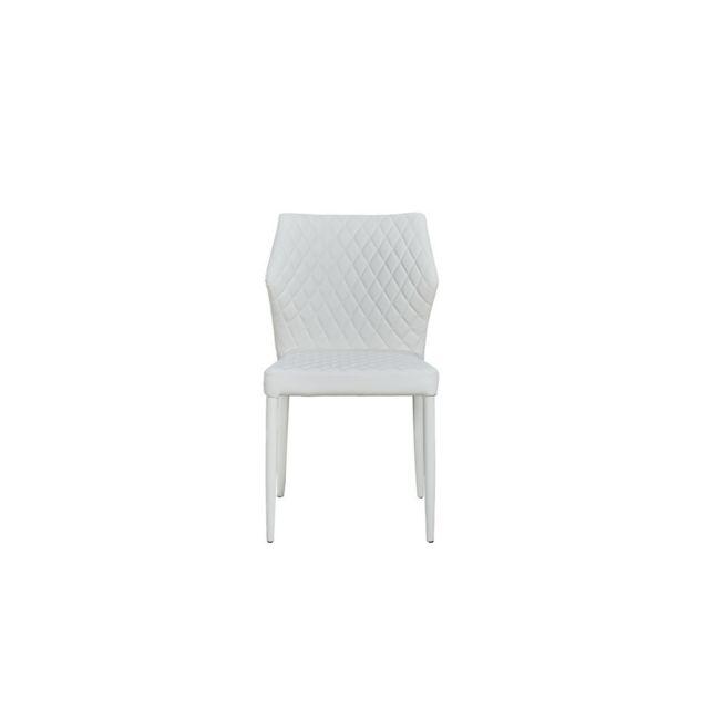 set de 2 chaises ara contemporaine blanc pour le bureau salon cuisine
