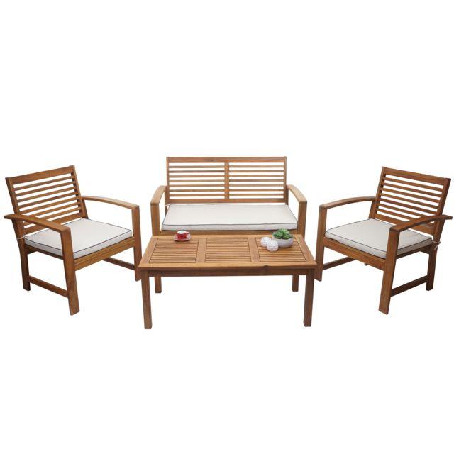 garniture de jardin hwc e99 ensemble canape fauteuil set de balcon bois