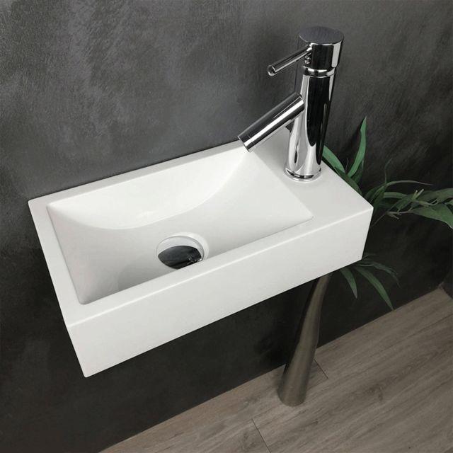 lave mains suspendu blanc 40 cm en pierre de synthese telma d
