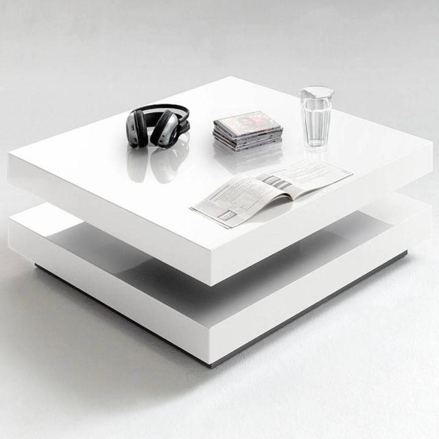 table basse design hubic laquee blanc brillant plateau pivotant
