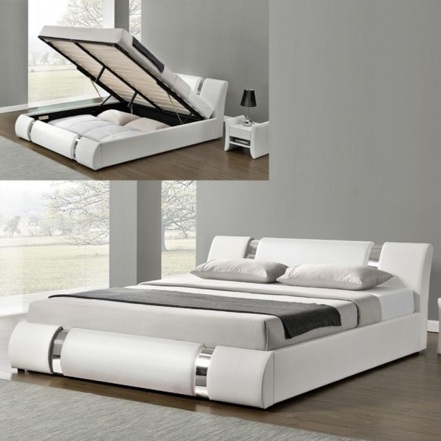 lit coffre sommier relevable nova blanc 180x200