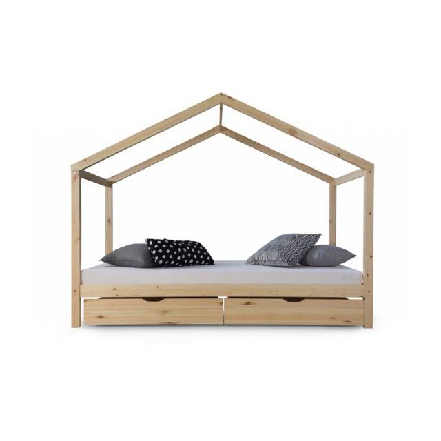 lit d enfant cabane 90x200 bois naturel et tiroirs