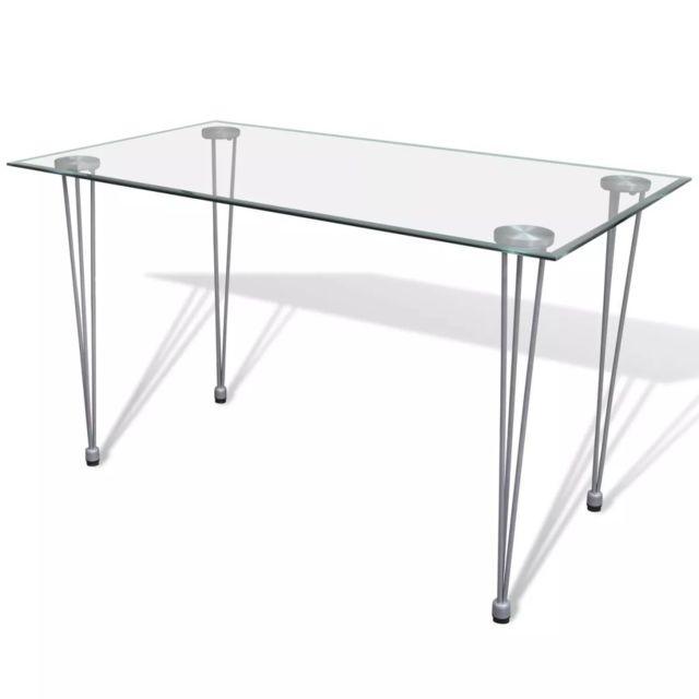 vidaxl table de salle a manger et dessus de table en verre transparent