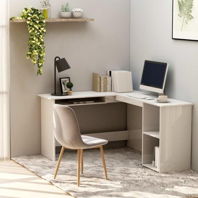 vidaxl bureau d angle en forme de l blanc brillant agglomere table ordinateur