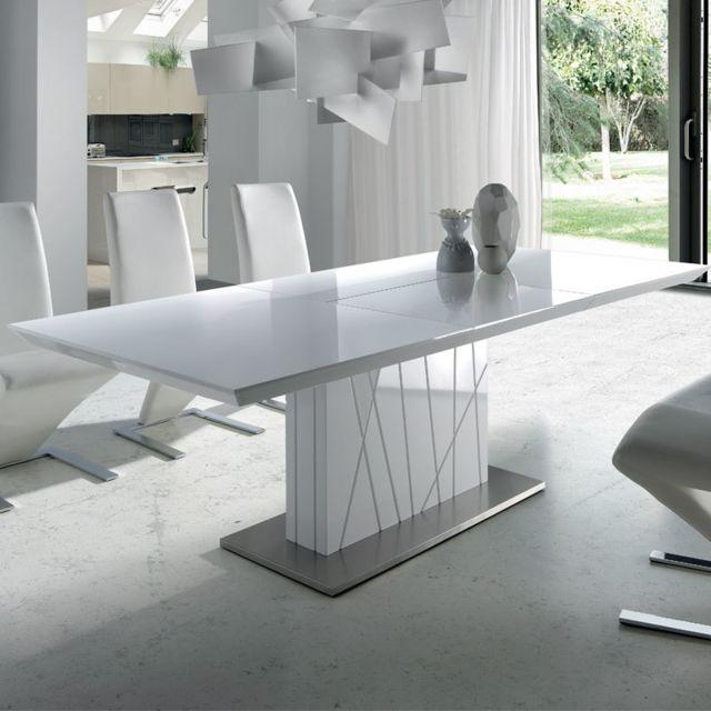 table a manger extensible blanc laque design elodie