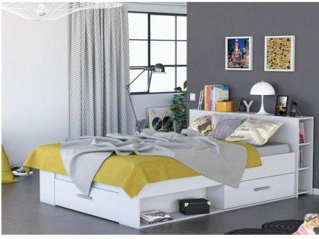 lit leonis avec rangements et tiroirs 140x190cm blanc