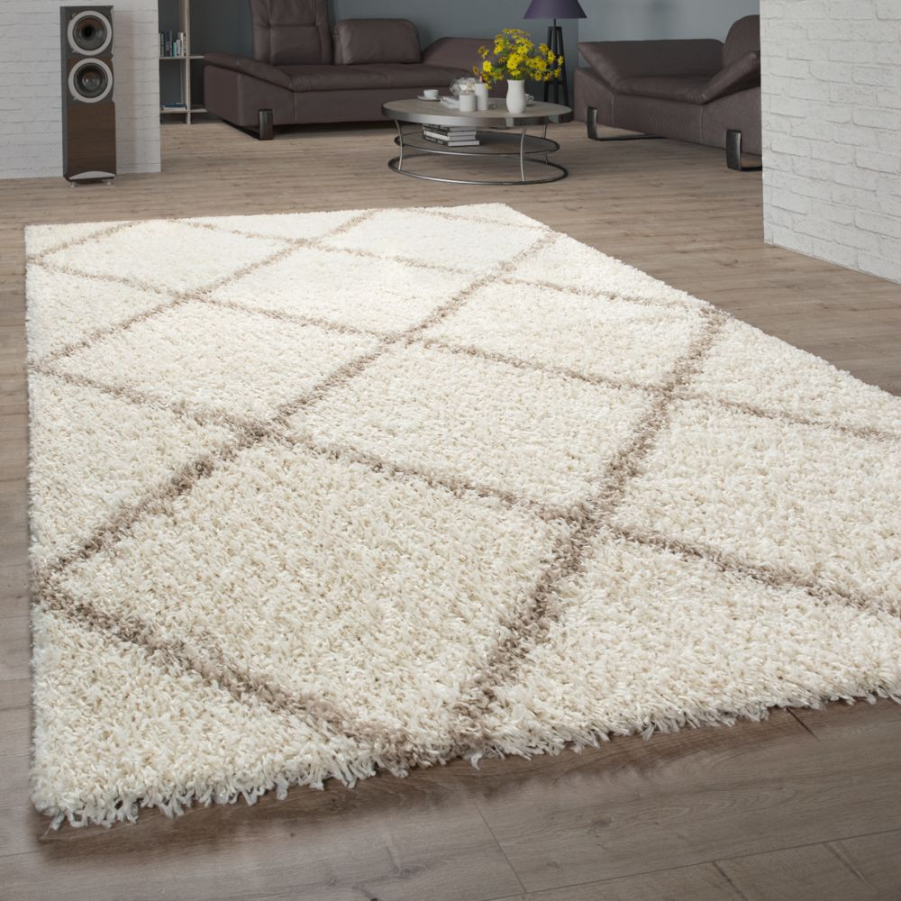 paco home tapis salon poils longs shaggy design scandinave avec motif losanges moderne beige