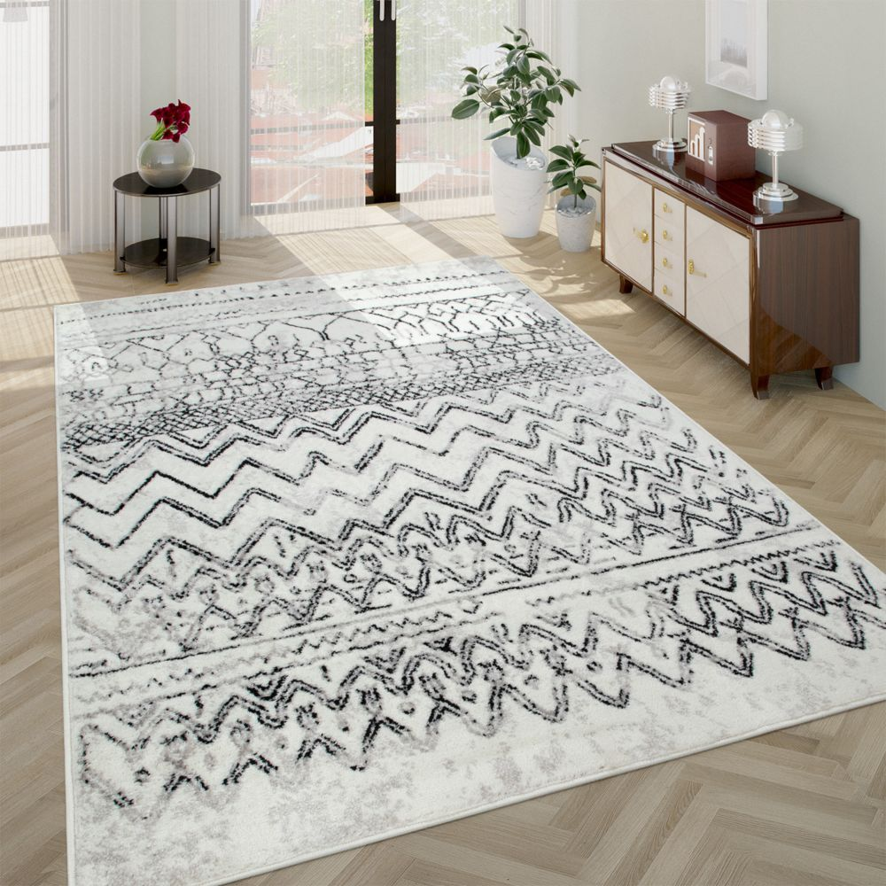 paco home tapis salon design vintage avec motif scandinave poils ras creme gris