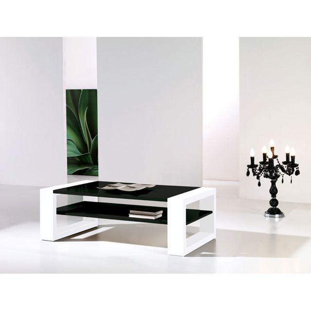 table basse noir et blanc laque design cynthia