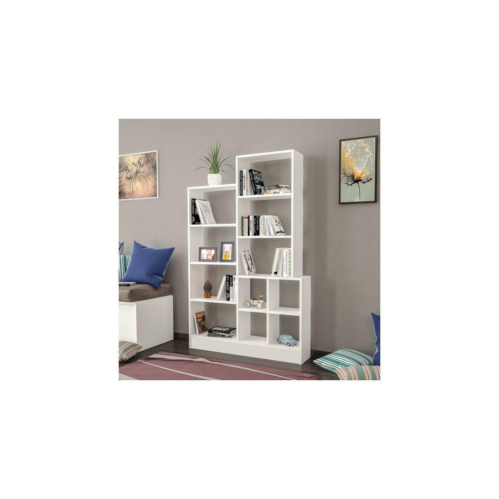 homemania homemania bibliotheque monde avec etageres meuble de rangement pour salon bureau blanc en bois 102 2 x 22 x 160 8 cm
