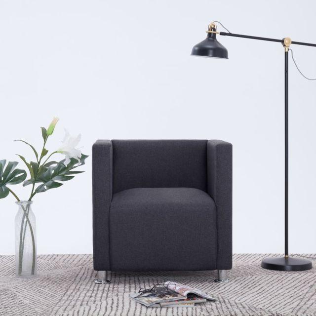 vidaxl fauteuil cube gris fonce polyester chaise meuble siege de salon bureau