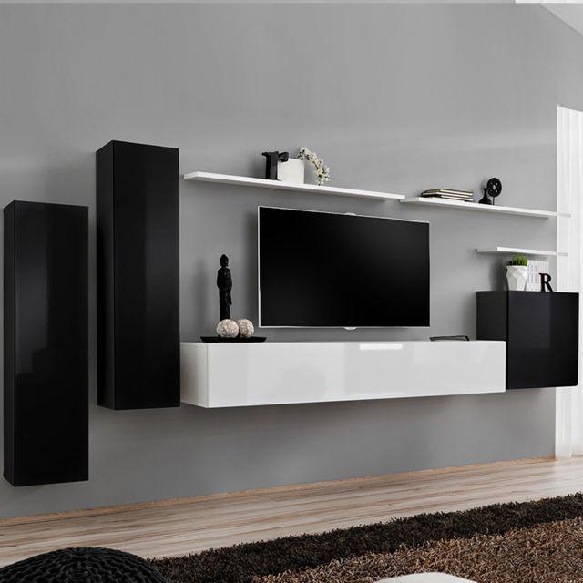 meuble tv suspendu blanc et noir agatha 2