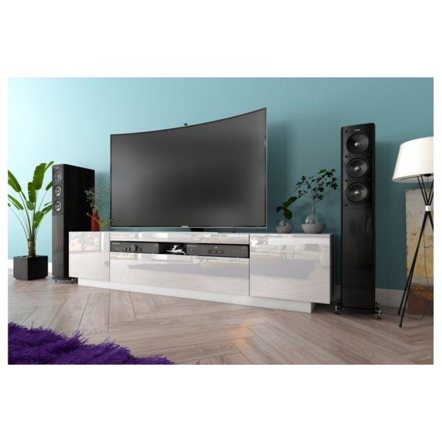 meuble tv kush blanc mat 200 cm avec portes laquees