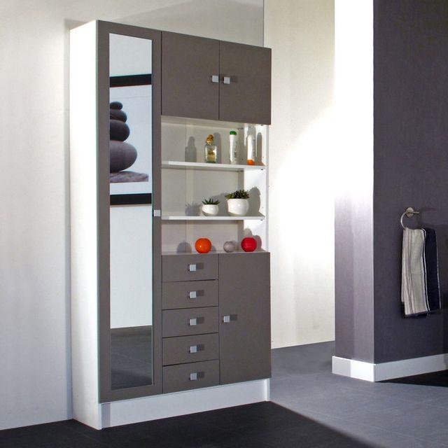 armoire avec miroir 4 portes 5 tiroirs 3 niches en bois l90xp29 6xh181 6cm
