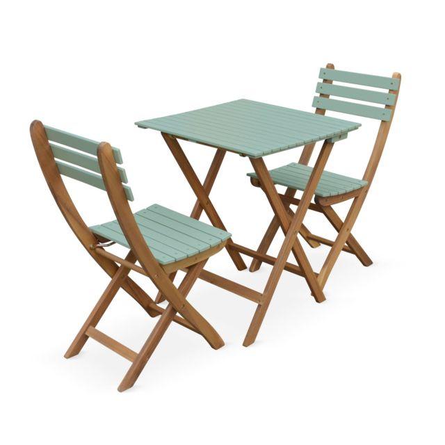 table de jardin bistrot en bois 60x60cm barcelona bois vert de gris