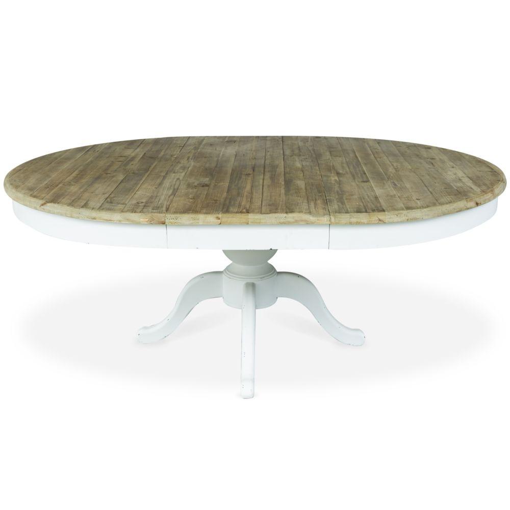 marque generique table ronde extensible en bois sidonie blanc