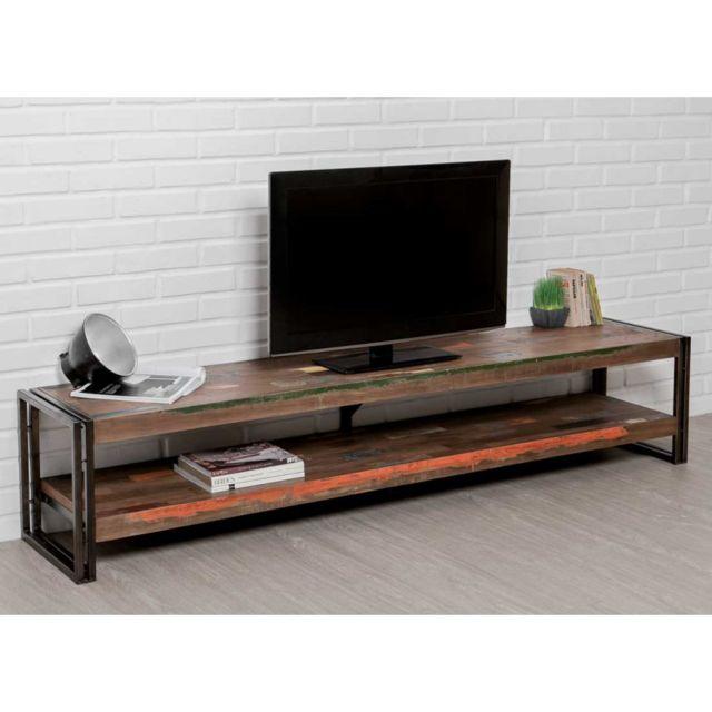 meuble tv double plateaux 200 cm metal teck recycle stephen