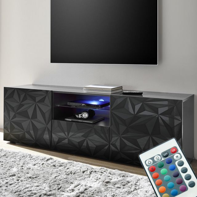 meuble tele led 180 cm laque gris design antonio 3