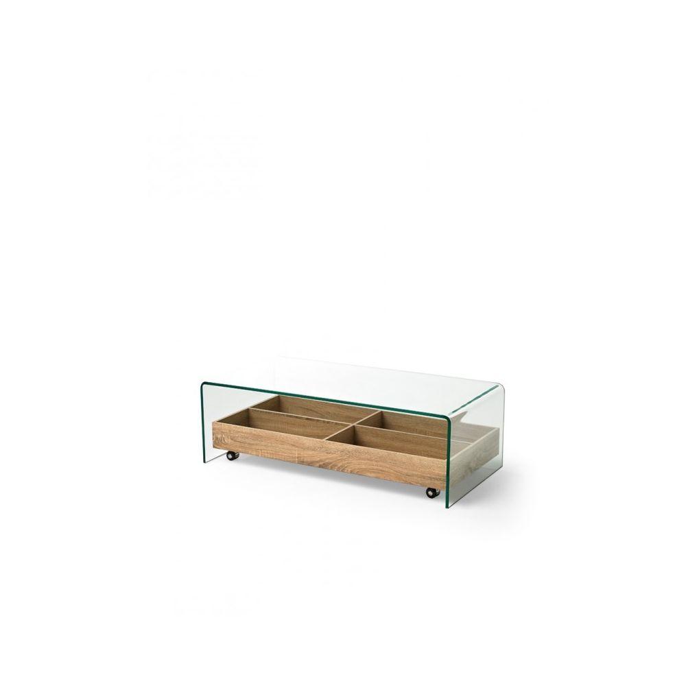 ma maison mes tendances table basse en verre avec plateau caisse sur roulettes en bois edwige l 110 x l 55 x h 35