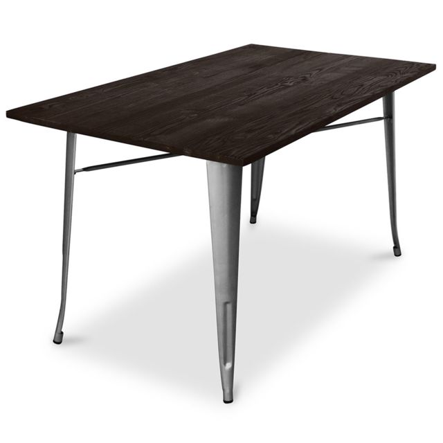 table de salle a manger tolix pauchard style 140cm metal et bois