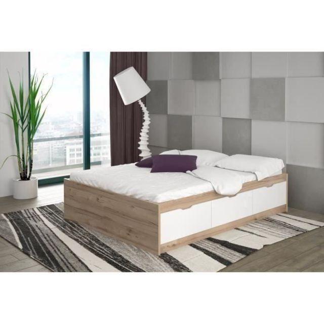 structure de lit lit adulte vankka scandinave decor chene et blanc mat l 140