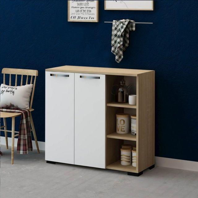 homemania meuble de rangement multi usages ruspin avec portes etagere