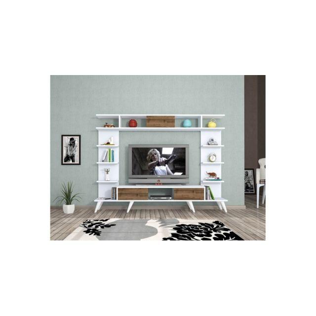 homemania meuble tv pan moderne murale avec portes etageres pour salon