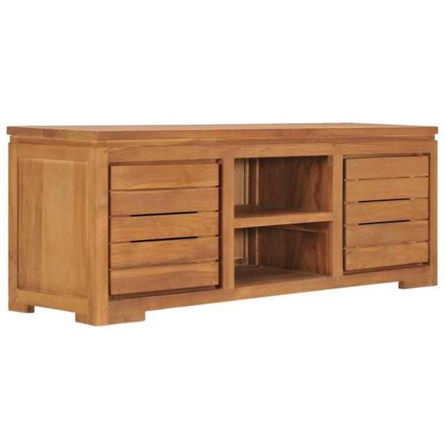 uco meuble tv 110x30x40 cm bois de teck massif