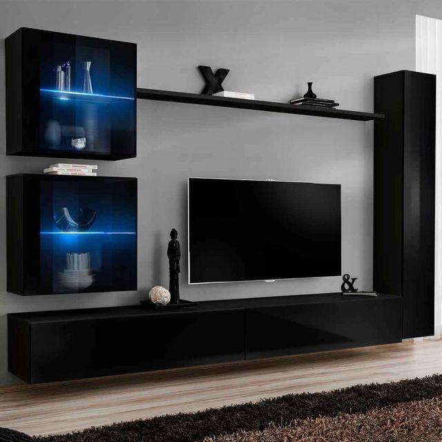 meuble tv mural design switch xviii 280cm noir