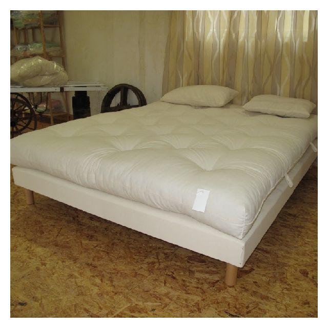 futon pure laine vierge fabrique main 2 places taille matelas 140 x 190