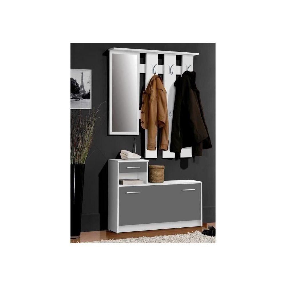 marque generique vestiaire meuble d entree vestiaire d entree peili contemporain blanc et gris mat l 97 5 cm