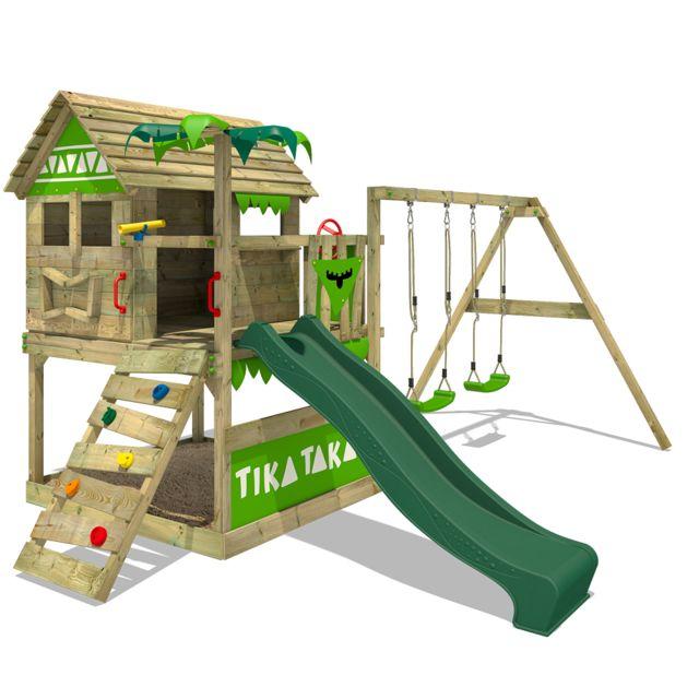 fatmoose aire de jeux portique bois tikataka avec balancoire et toboggan vert