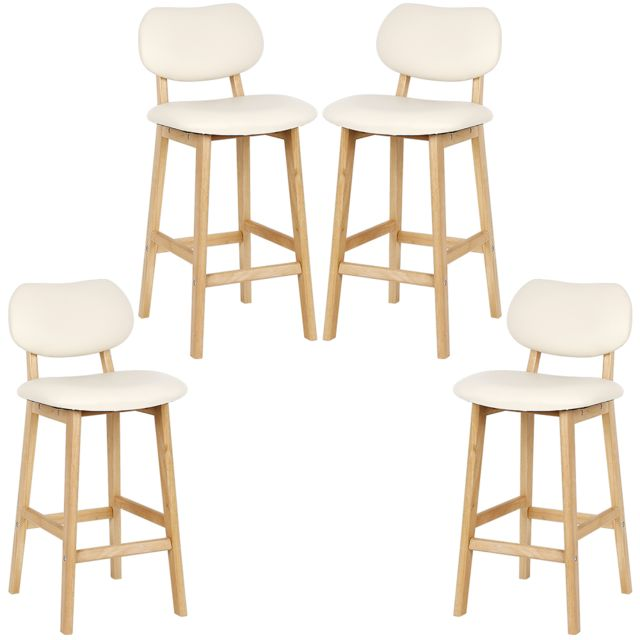4 tabouret de bar en bois avec dos tabouret tabouret de comptoir simili cuir