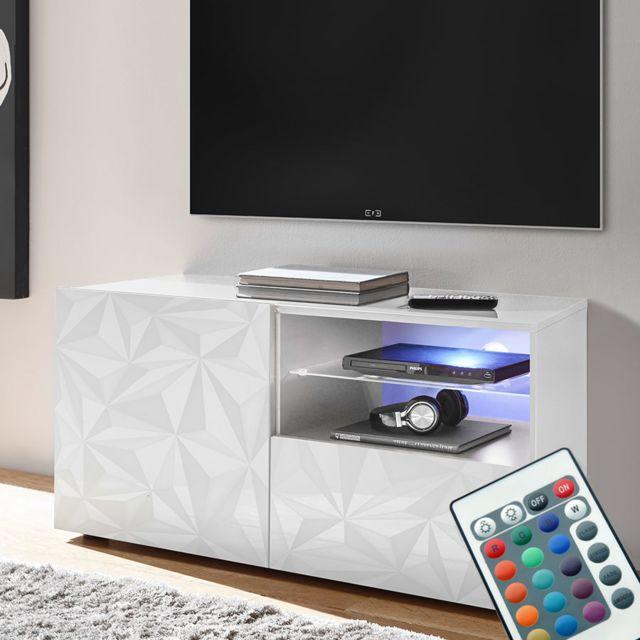 meuble tele led 120 cm blanc laque design antonio