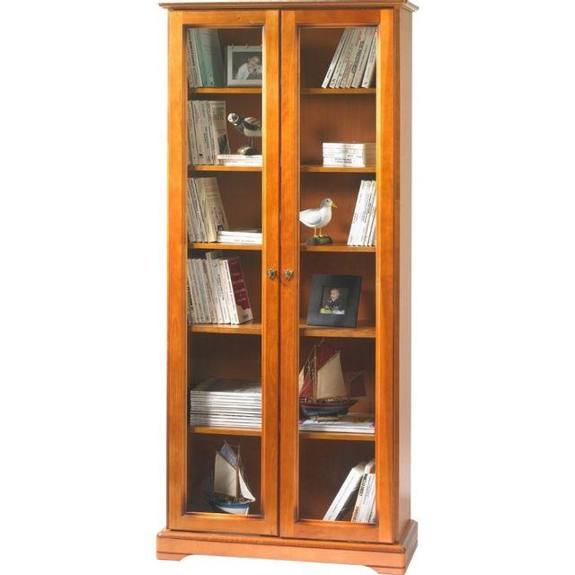 bibliotheque 2 portes vitrees merisier