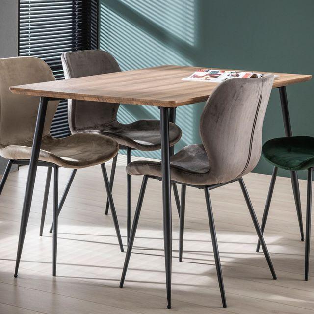 petite table 120 cm couleur chene et metal joan