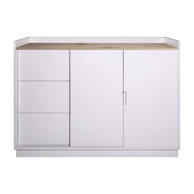 buffet bahut enfilade oslo rangement 2 portes 3 tiroirs blanc l 120 x p