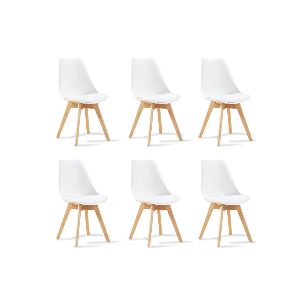 oneboutic lot de 6 chaises scandinaves blanches bjorn