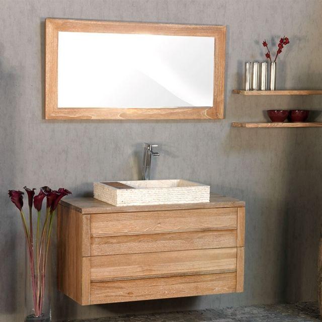 miroir 120 en teck blanchi casance