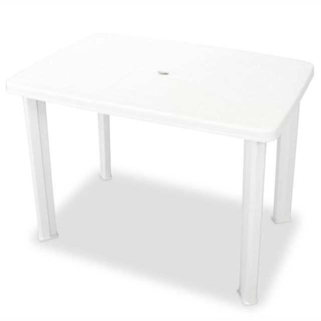 vidaxl table de jardin 101 x 68 x 72 cm plastique blanc