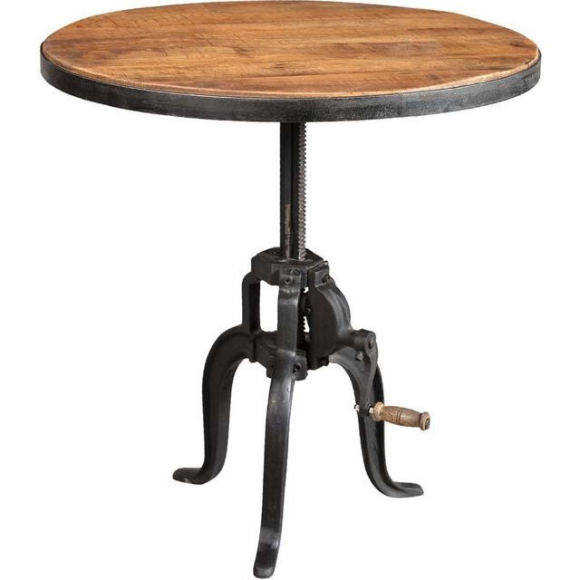 table ronde fer forge et bois avec manivelle