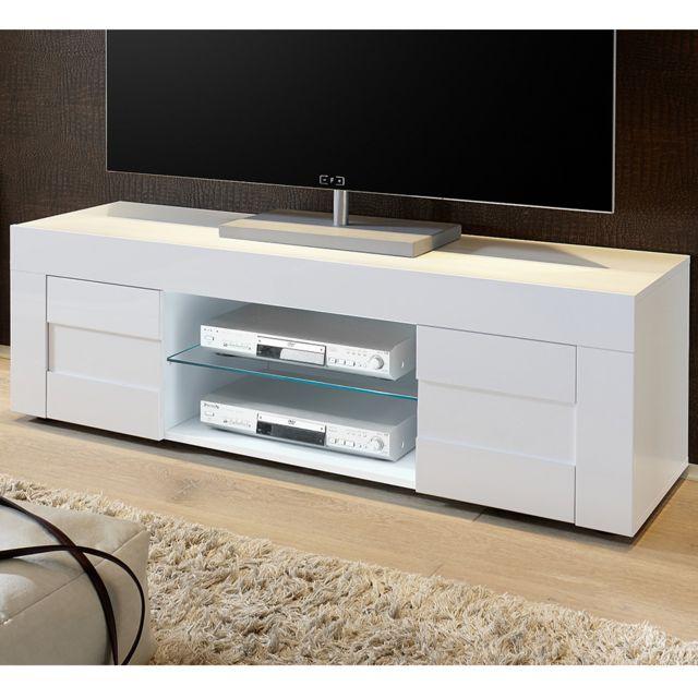 meuble tv blanc laque brillant design newland l 138 cm