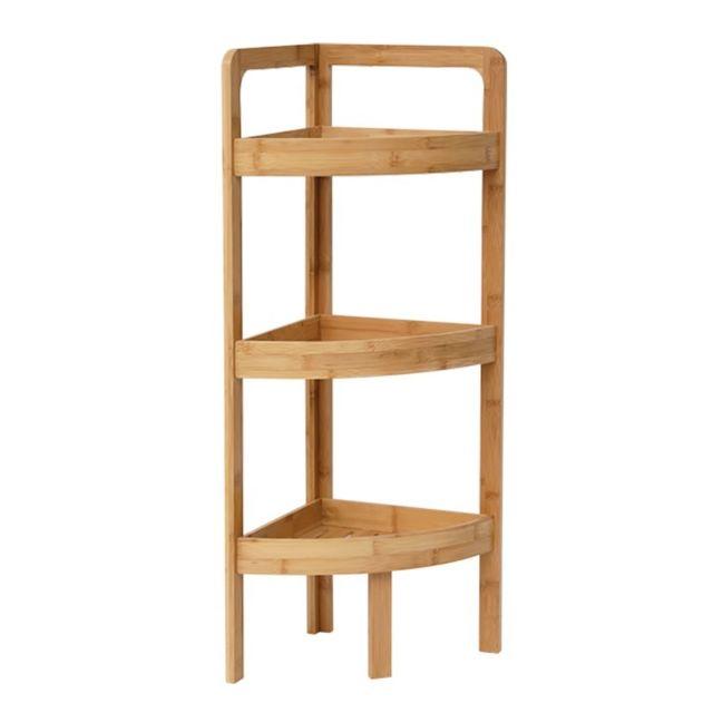 etagere d angle 3 niveaux en bambou