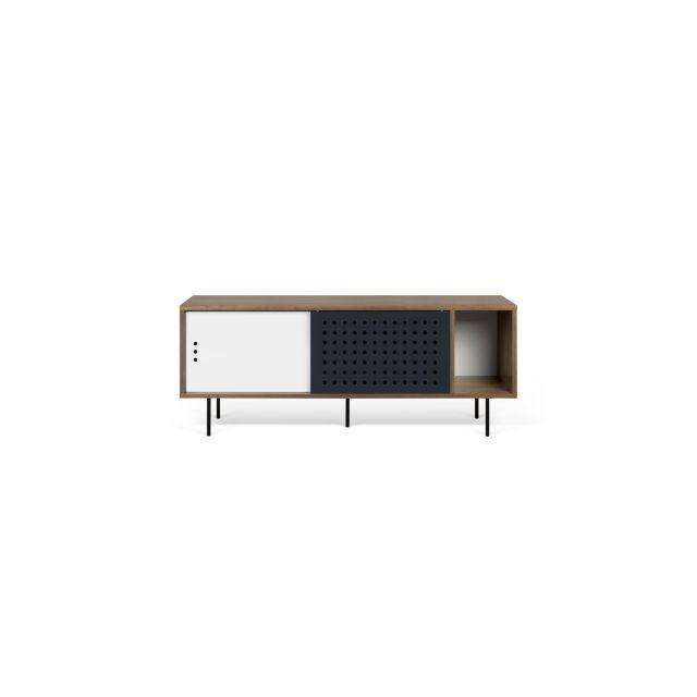 meuble tv dann tema home 165 cm blanc noyer