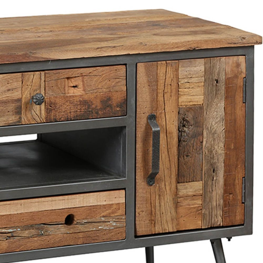 meuble tv 1p 4t acier et bois massif
