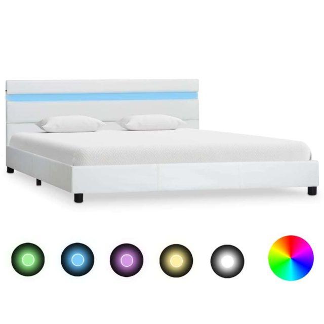 vidaxl cadre de lit avec led blanc similicuir 140 x 200 cm