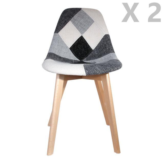 2 chaises design scandinave patchwork gris